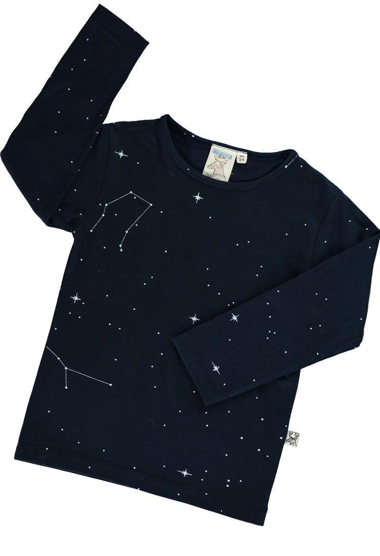 Camiseta niños de algodón orgánico color azul con el brazo arriba