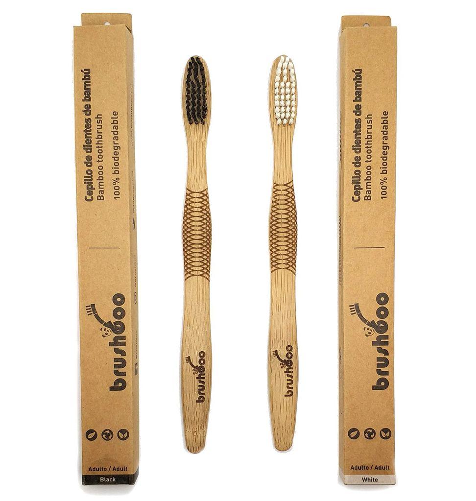 Cepillos de dientes de bambú con caja