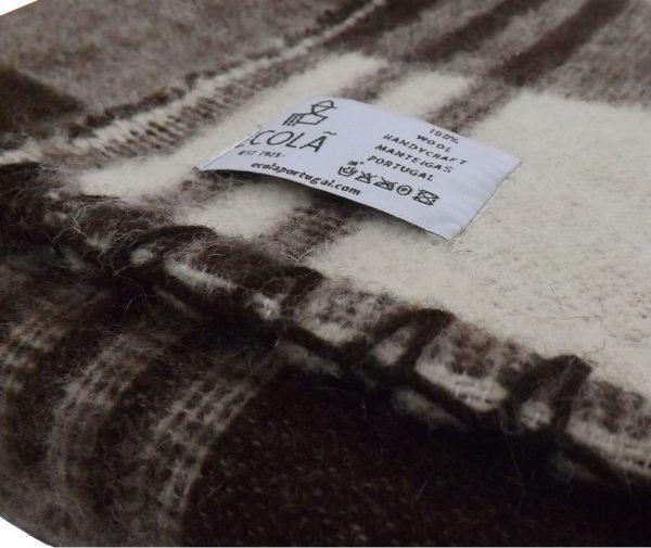 Edredón invierno tejido en lana en detalle