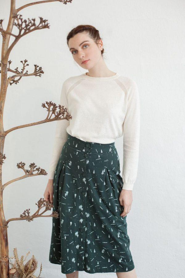 Falda abotonada estampada