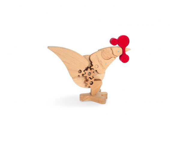 Juguete educativo para montar un puzzle de madera de un gallo o una gallina Chikoc mecanismo.