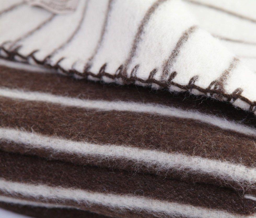 Manta lana gruesa artesanal en detalle