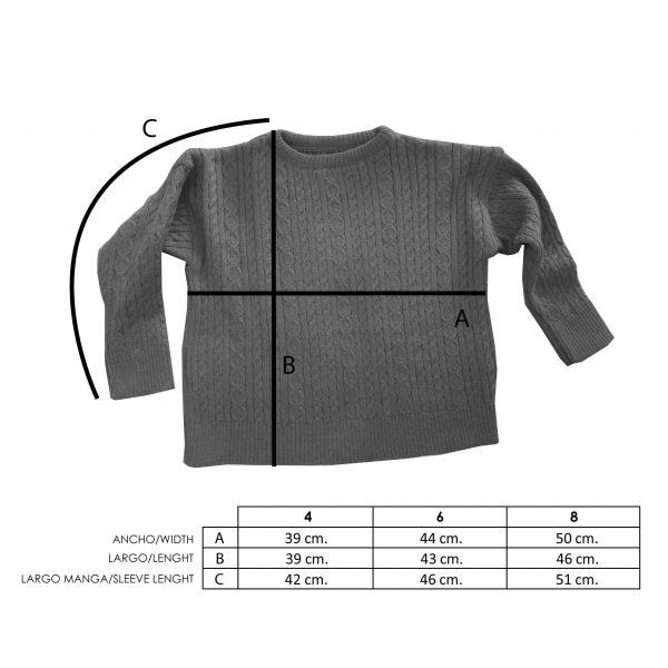 Medidas jersey lana infantil ochos