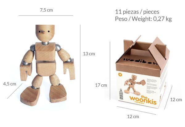 Muñeco de madera con imanes dimensiones