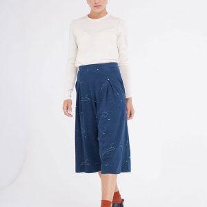 Pantalón culotte azul marino estampado constelaciones
