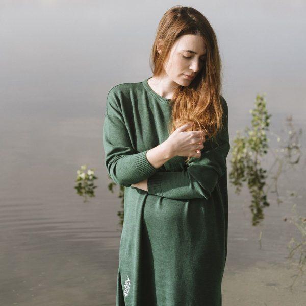 Vestido de lana verde