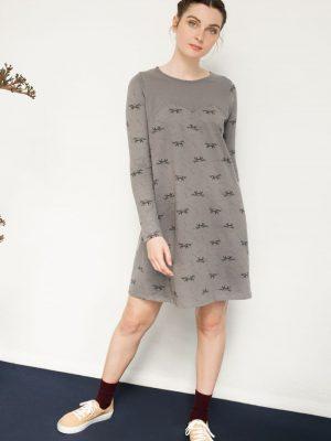 Vestido evasé color gris