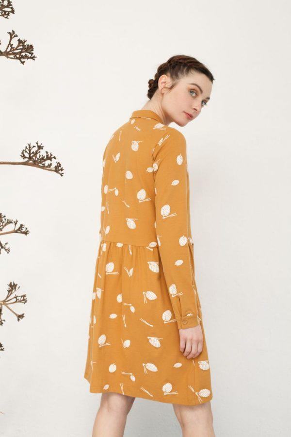 Vestido mostaza de algodón orgánico