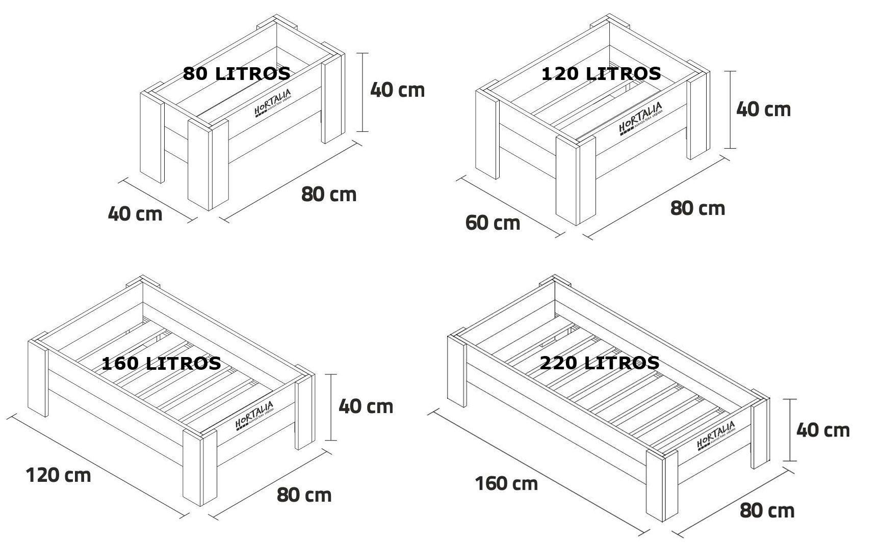 Medidas mesa de cultivo de 40 centímetros de altura