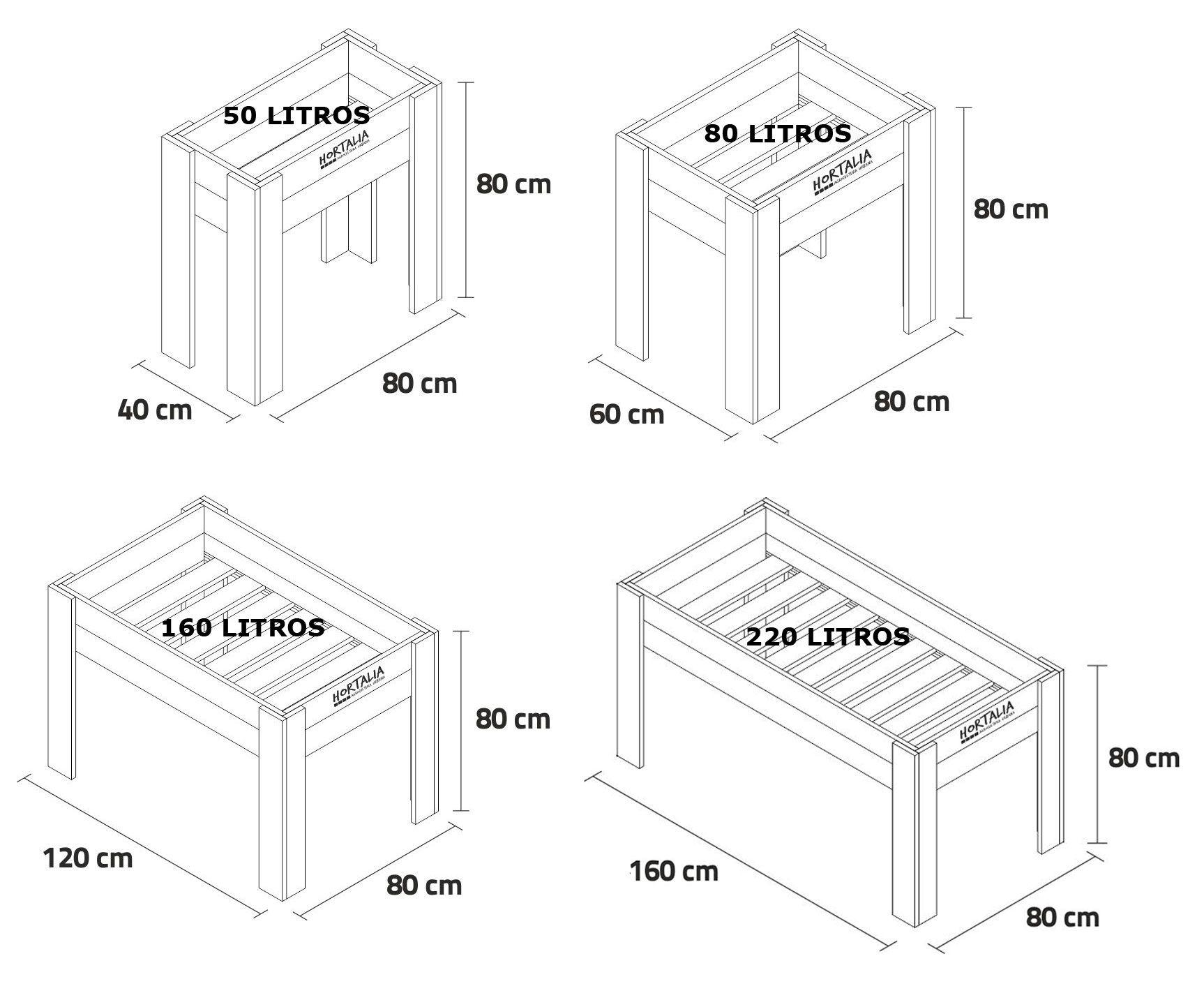 Medidas mesa de cultivo de 80 centímetros de alto
