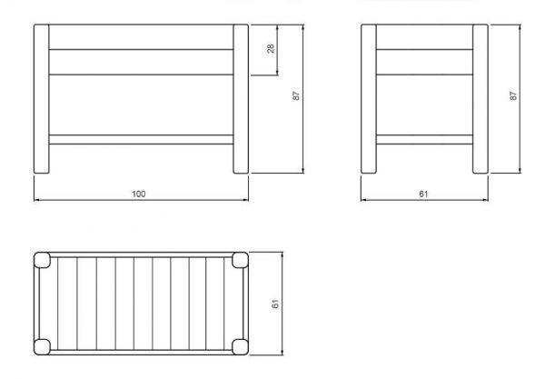 Planos de una mesa de cultivo de madera