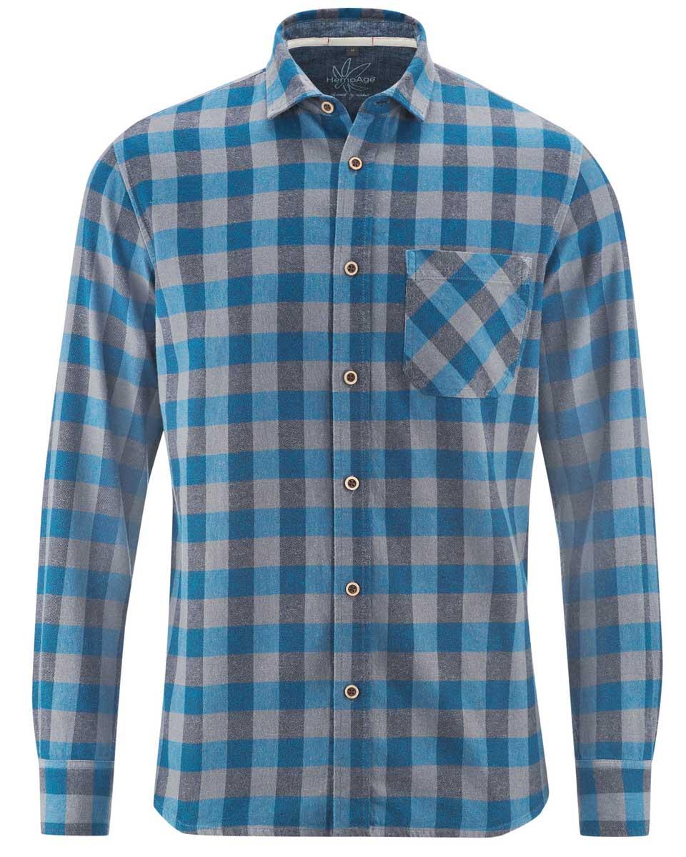 Camisa de cuadros hombre de cáñamo y algodón orgánico azul