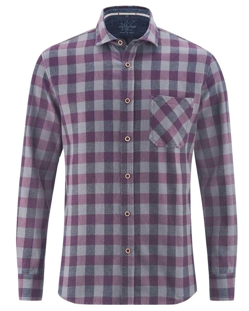 Camisa de cuadros hombre de cáñamo y algodón orgánico púrpura