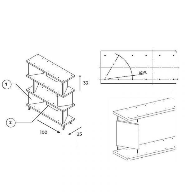 Dimensiones estantería modular de salón