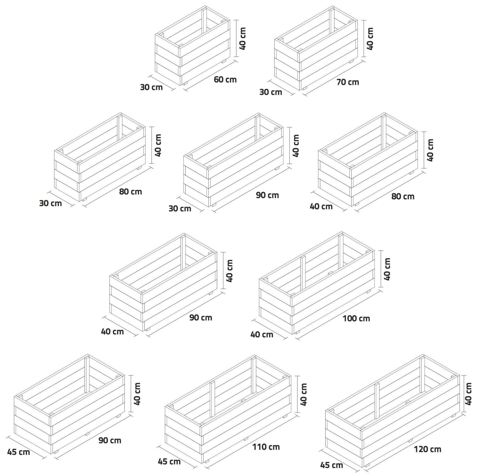 Dimensiones jardinera de madera rectangular