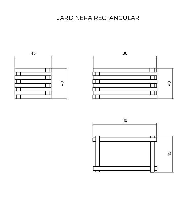 Dimensiones jardinera rectangular