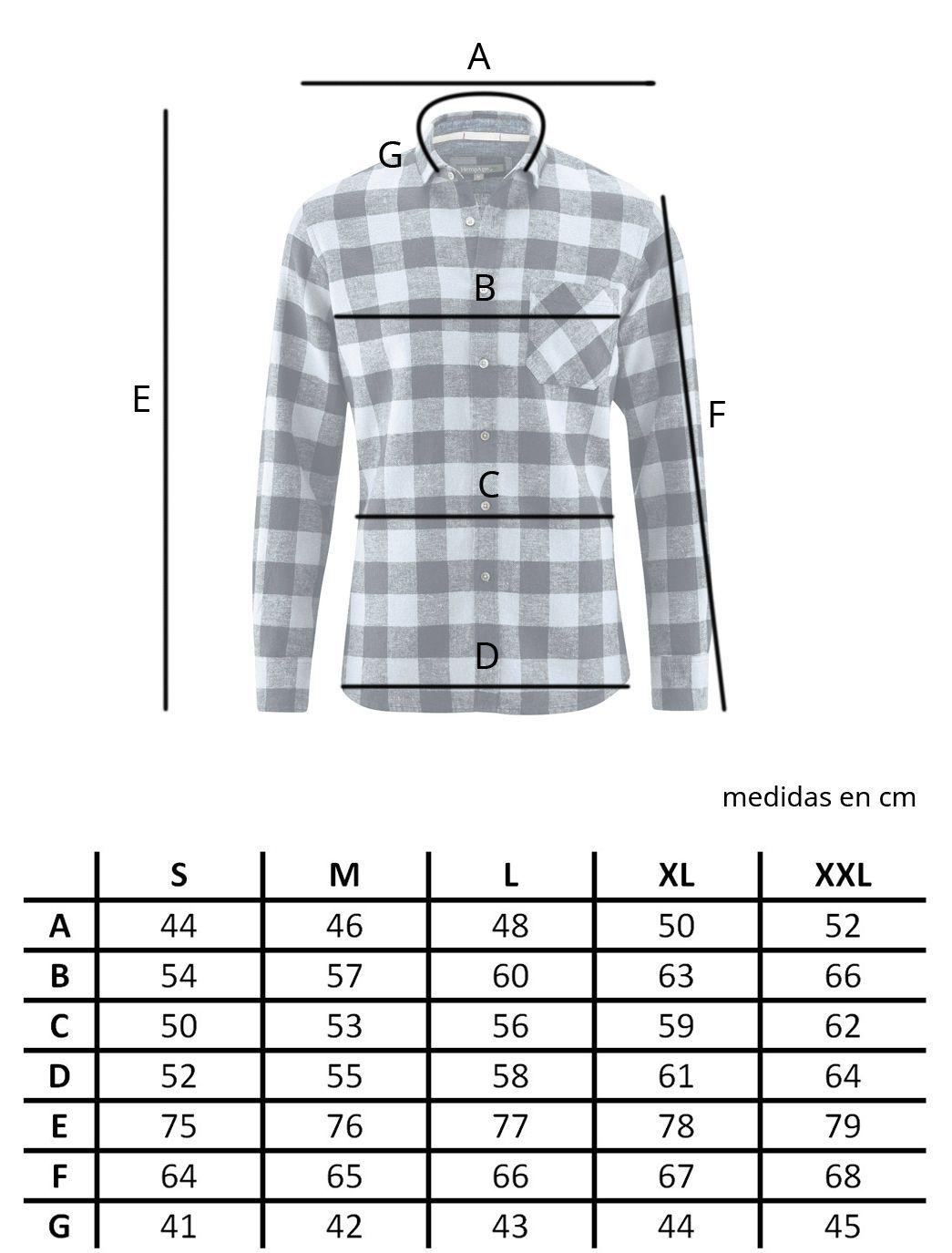 Tallas camisa de cuadros