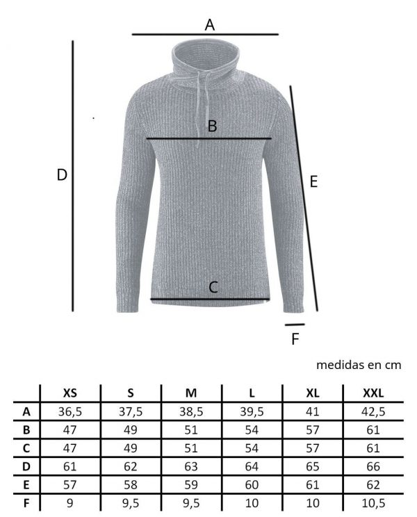 Tallas jersey hombre cuello alto