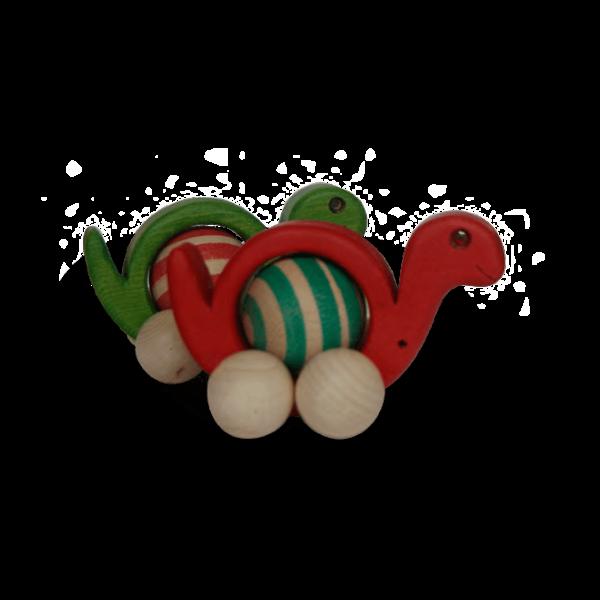 Caracol infantil de colores verde y rojo