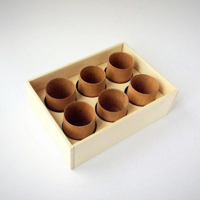 Kit de seis vasos chupito de madera de cerezo