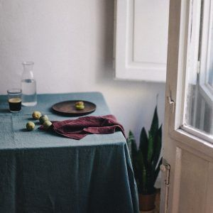 Mantel de lino lavado artesanal