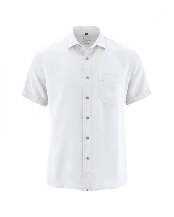Camisa blanca manga corta de hombre 100% cáñamo