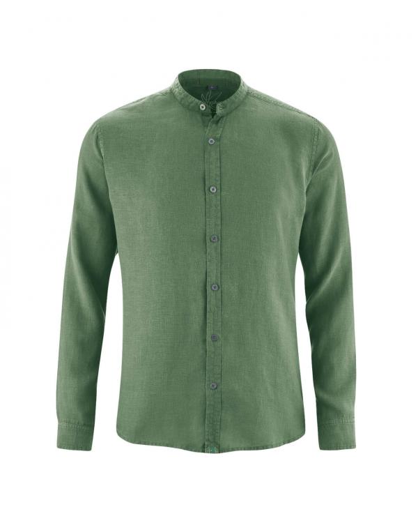 Camisa cuello mao hombre verde