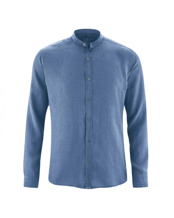 Camisa de cáñamo cuello mao hombre azul