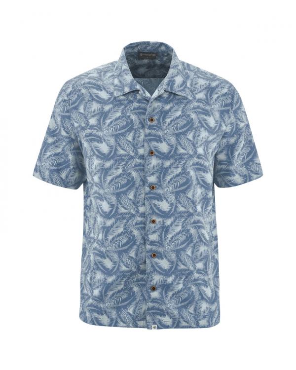 Camisa manga corta de cáñamo palma azul