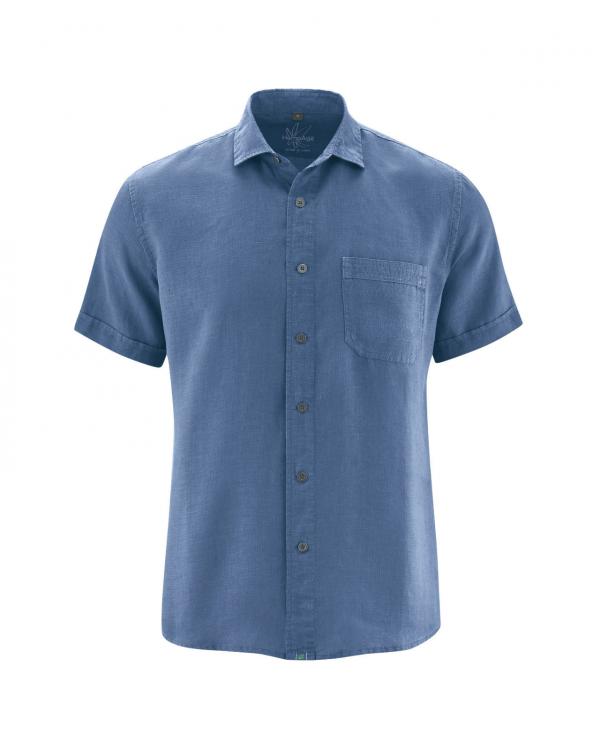 Camisa manga corta de hombre azul cáñamo