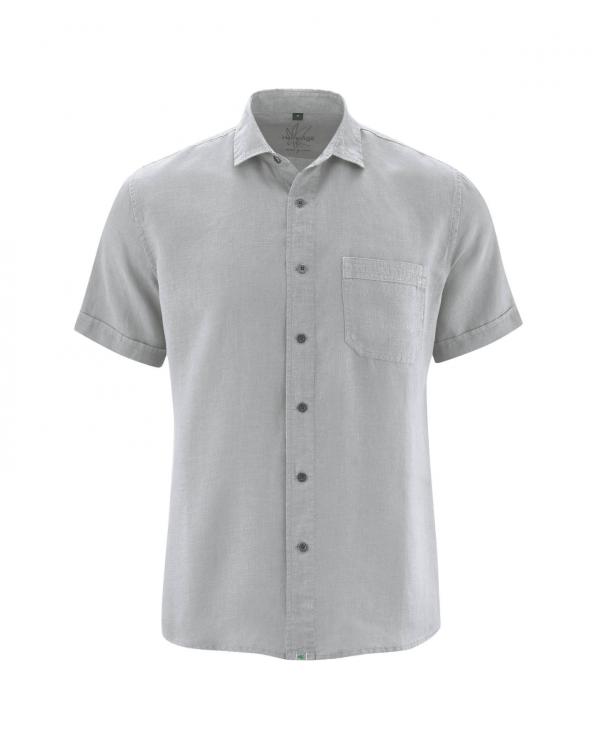 Camisa manga corta gris de hombre cáñamo