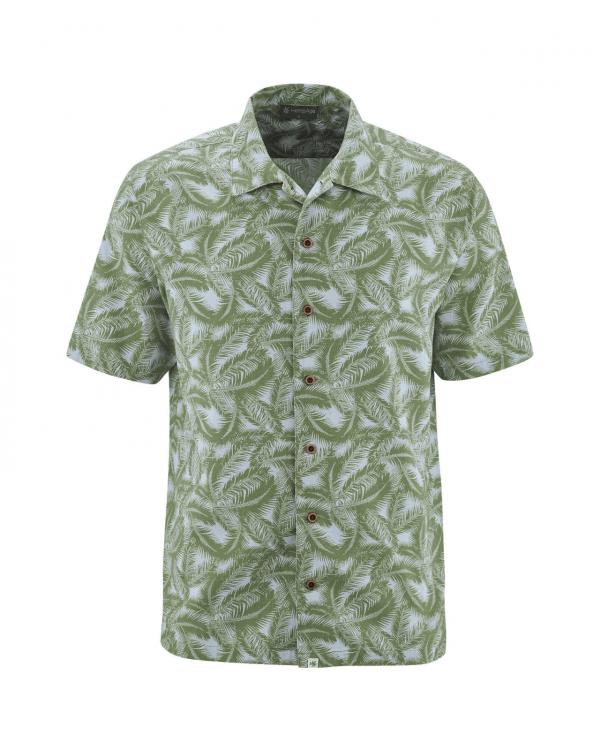 Camisa manga corta hombre estampado palma verde
