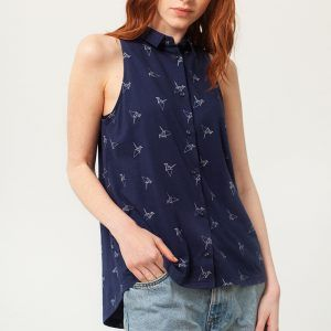 Camisa sin mangas azul estampado origami