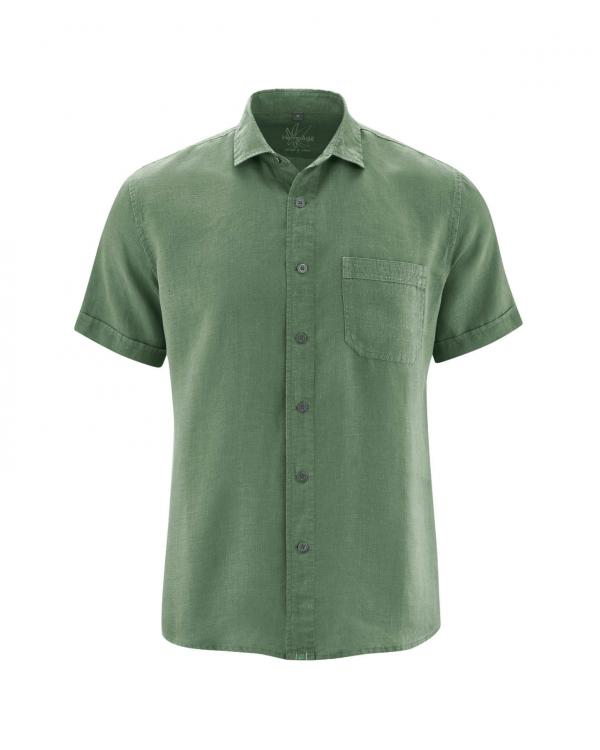 Camisa verde manga corta de hombre cáñamo