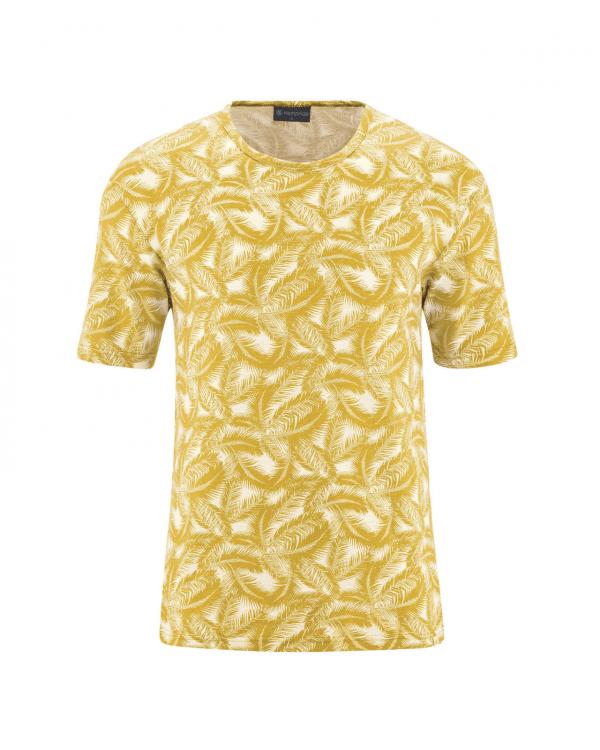 Camiseta amarilla de cáñamo y algodón orgánico estampado palmera