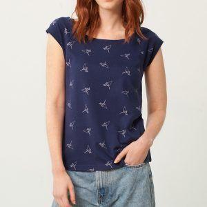 Camiseta cuello barco azul estampado origami