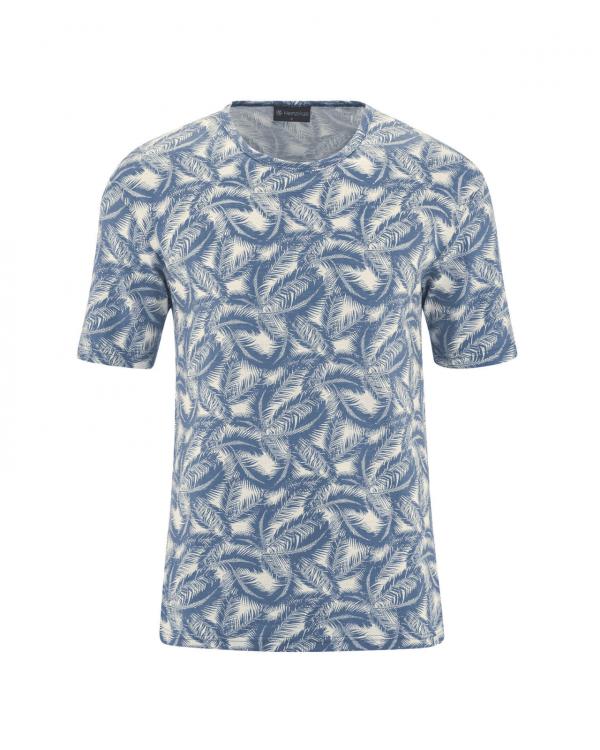 Camiseta de cáñamo y algodón orgánico azul palmera