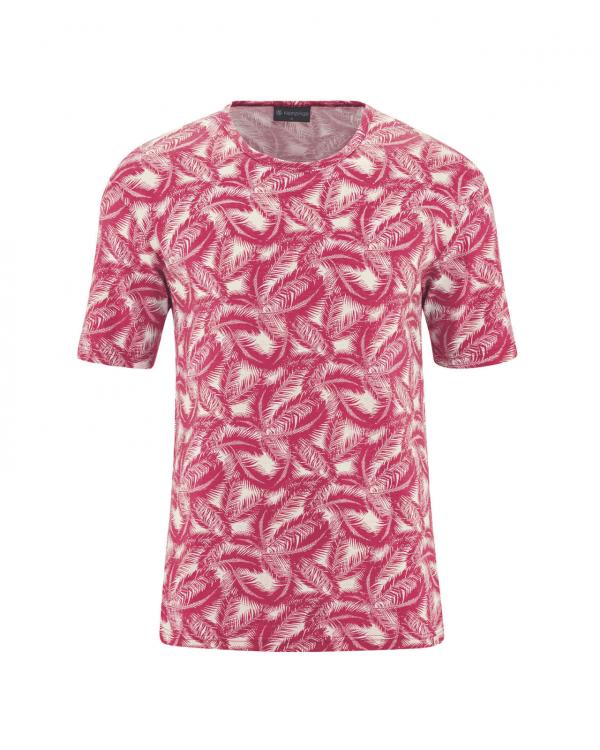 Camiseta de cáñamo y algodón orgánico estampado palmera burdeos