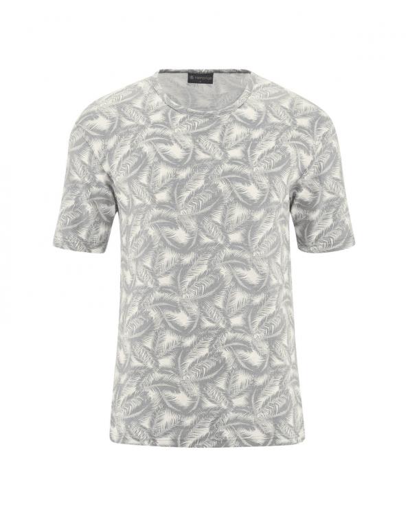 Camiseta de cáñamo y algodón orgánico estampado palmera gris