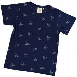 Camiseta infantil azul estampado origami
