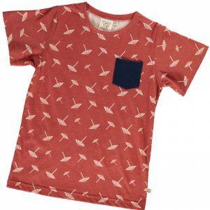 Camiseta infantil terracota con estampado de sombrillas
