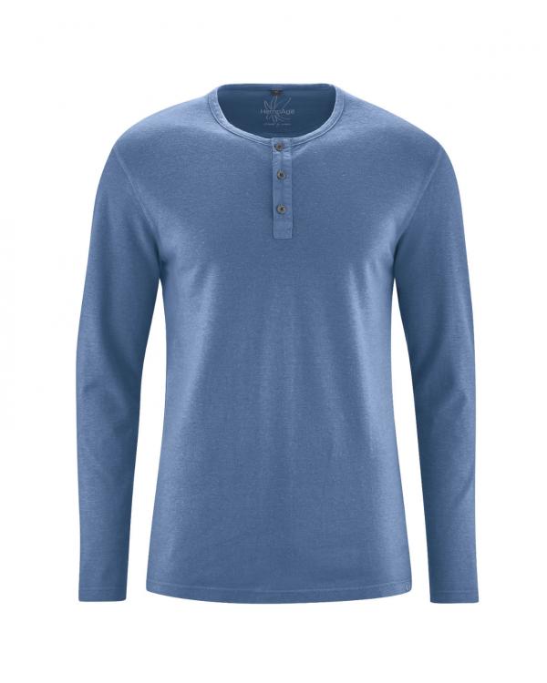Camiseta manga larga hombre azul con botones