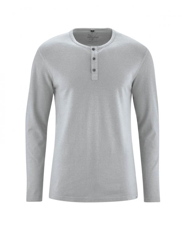 Camiseta manga larga hombre con botones gris cáñamo y algodón