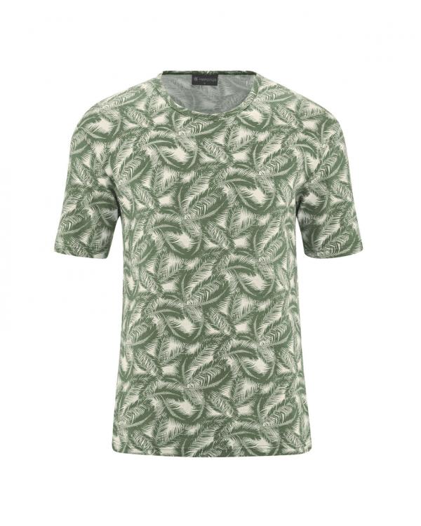 Camiseta verde de cáñamo y algodón orgánico estampado palmera