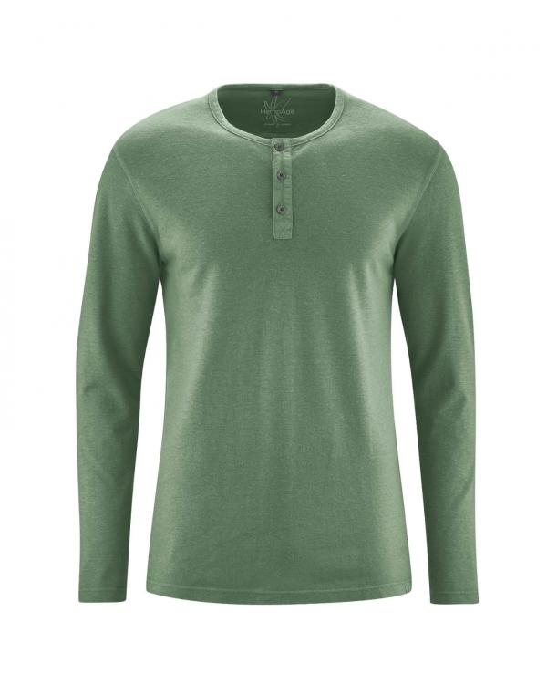 Camiseta verde manga larga hombre con botones cáñamo y algodón