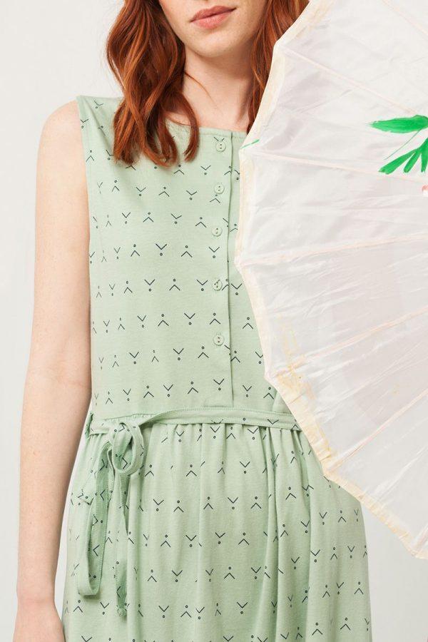 Detalle frente vestido verde estampado abstracto