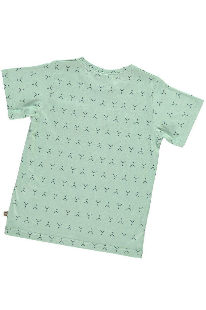 Espalda camiseta infantil verde estampado abstracto