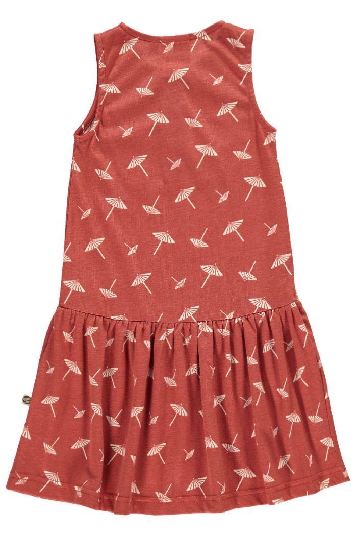 Espalda vestido infantil charlestón terracota estampado