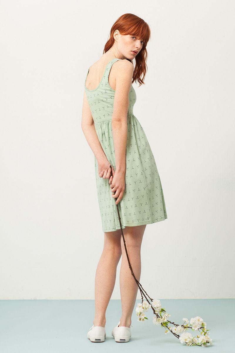 Espalda vestido corte imperio verde estampado abstracto