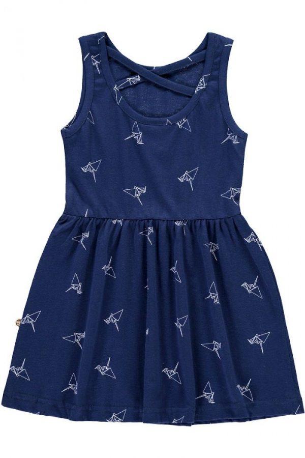 Espalda vestido infantil tirantes azul estampado origami
